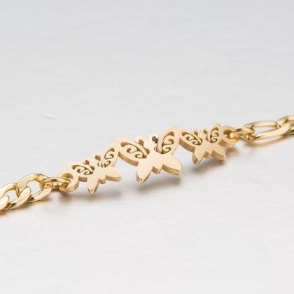 Guldpläterat armband med fjärilar perfekt gåva barn kvinnor män