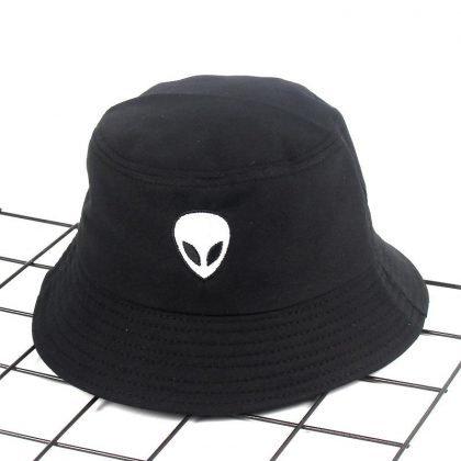 Fiskehatt Hip-Hop svart broderad alien hatt solhatt