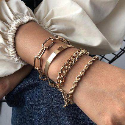 Armband i set á 4 stk guld bohemiskt smycke hip hop kedjor