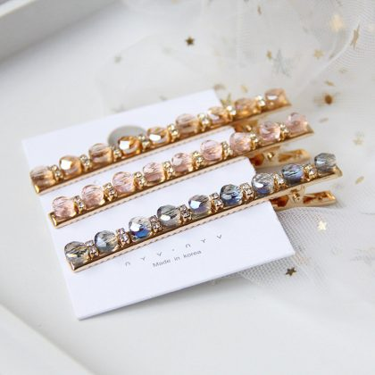 Hårnål i kristall strass bobby pin guld