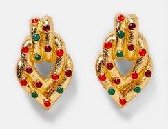 Exotiska Örhängen i guld med röda och gröna stenar