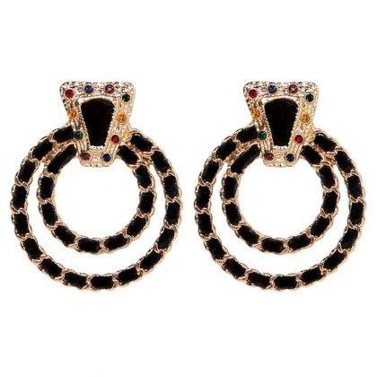Örhänge dubbla ringar i svart och guld