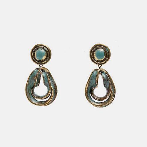 Örhängen i stil shabby chic i silver och turkos