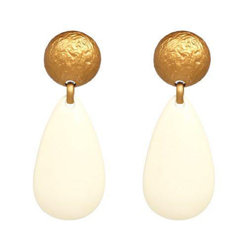 Örhänge med plattor i guld och vit