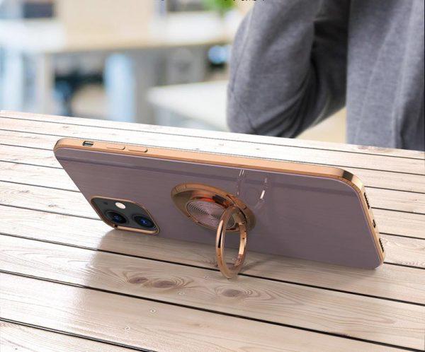 Lyxigt Stilrent skal iPhone 12 Pro Max med ring ställ-funktion Guld