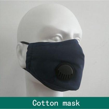 Tvättbart munskydd PM2.5 med andningsventil i bomull svart