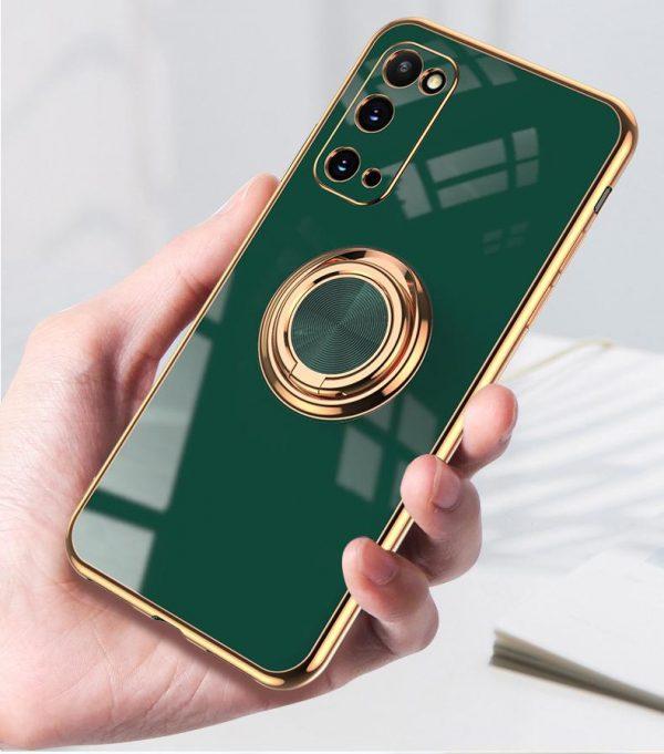 Samsung Galaxy S20 Lyxigt Stilrent skal med ring ställ-funktion Guld