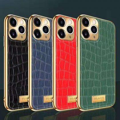 iPhone 12 Skal äkta läder krokodilmönster guldram hög lyx
