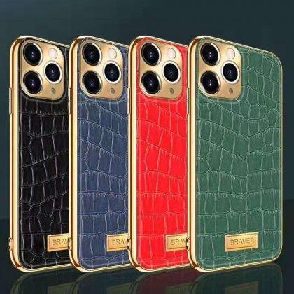 iPhone 12 Pro Max Skal äkta läder krokodilmönster guldram hög lyx