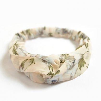 Hårband med vackra blomstermönster elastiskt silke i 3 modeller