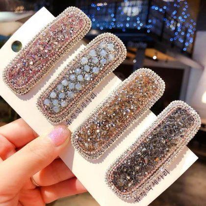 Handgjorda hårklämmor i tyg med pärlor, strass & diamanter