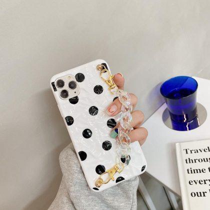 iPhone 12 Pro Max Skal prickigt svart vit med vristband