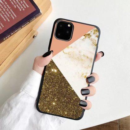 iPhone 12, 12 Pro & 12 Pro Max Skal glitter rosa guld marmor
