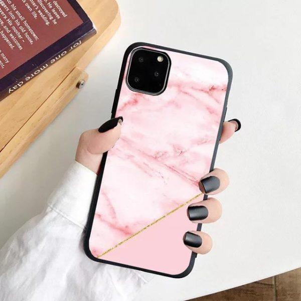 iPhone 12, 12 Pro & 12 Pro Max Skal rosa marmor guldkant
