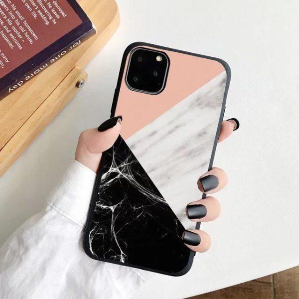 iPhone 12, 12 Pro & 12 Pro Max Skal rosa svart marmor