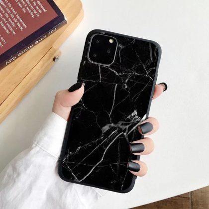 iPhone 12, 12 Pro & 12 Pro Max Skal vit svart marmor