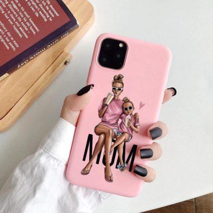 iPhone 11 Pro Max skal mamma dotter rosa söt gulligt