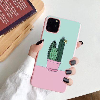 iPhone 12 Pro Max skal med kaktus rosa pastellfärger