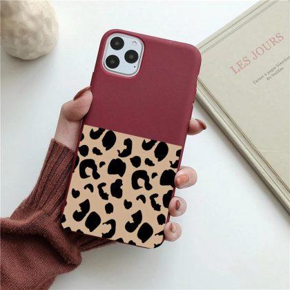 iPhone 12 Pro Max Skal halva leopardmönster 2 färger svart röd