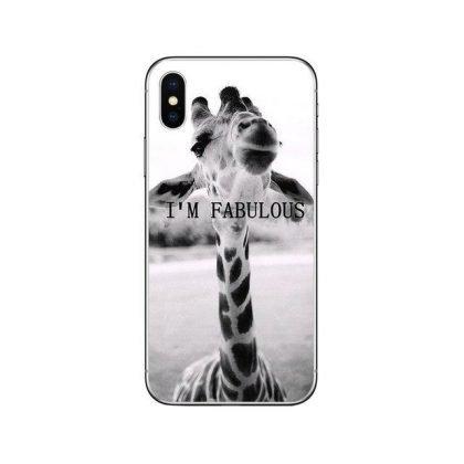 iPhone 12 & 12 Pro skal rolig giraff med text I am fabulous