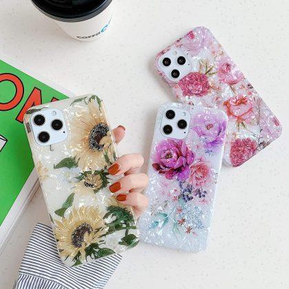 iPhone 12 Pro Max skal artificiell pärlemor solros blommor