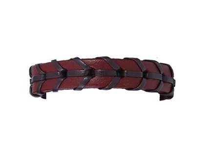 Handgjort flätat armband i äkta läder i autentisk stil brun röd