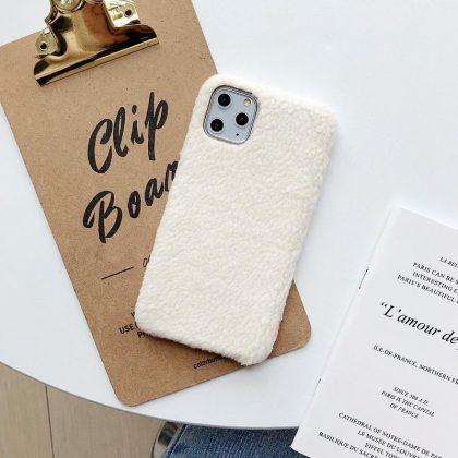iPhone11 Pro Max skal teddy material fluffigt mjukt stickat