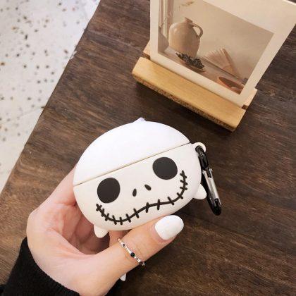 Silikon Airpods Pro skal i vit svart spöke skelett 3D krok