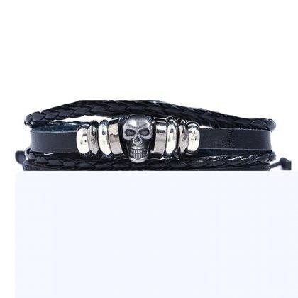 3 stk Handgjorda armband i autentisk läder svart dödskalle