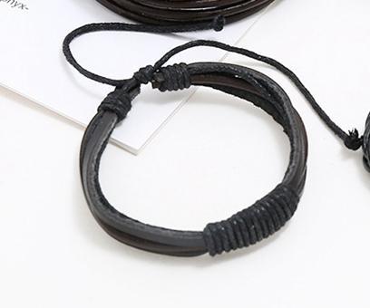 Handgjort armband i autentisk läder svart brun för män