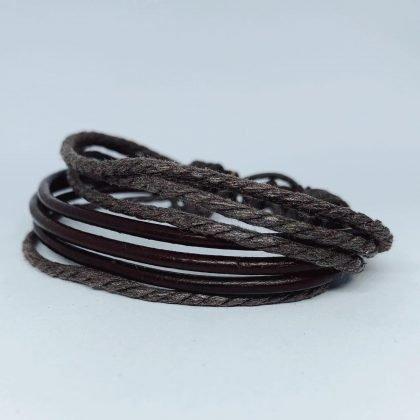 7 stk Handgjorda armband i autentisk läder brun för män