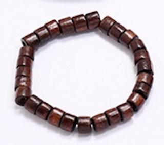 Handgjort armband för män kantiga träpärlor i brunt bohemiskt