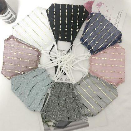 Mode Mask paljetter munskydd i flera färger tvättbar bomull