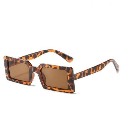 Solglasögon kvinnor rektangulär trend 2021 sommar retro leopard