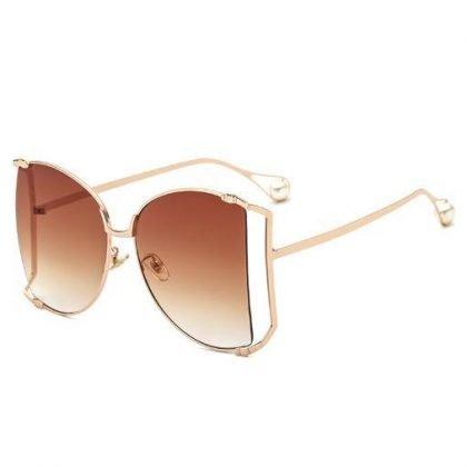 Solglasögon dam metall med pärla överdimensionerade