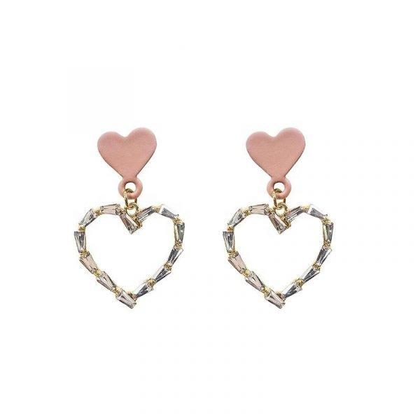 Guldpläterade örhängen med rosa hjärta och zircon