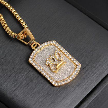 Hip hop kedja militärbricka 100 i guld och diamanter