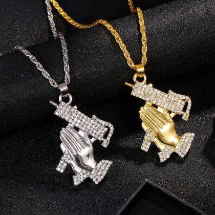 Hiphop kedja halsband med händer som ber med vapen