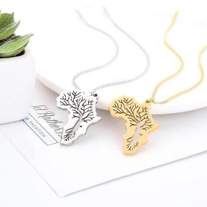 Halsband karta av Afrika och tree of life guld silver