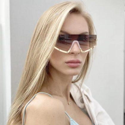 Sportiga solglasögon dam coola bågar rak metall vattentäta