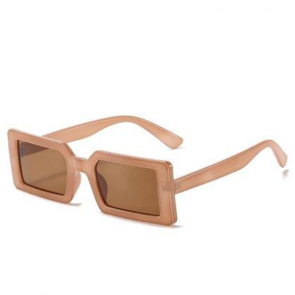 Trendiga solglasögon med rektangulära bågar i retro beige