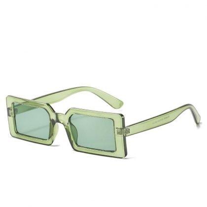 Trendiga solglasögon med rektangulära bågar i retro grön