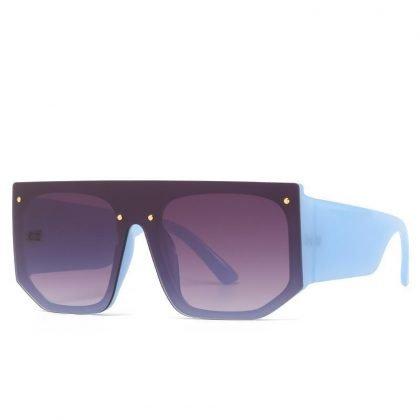 Solglasögon unisex bred bågar elastiskt material I blå färg