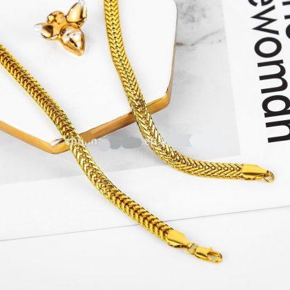 18K guldpläterad bred kedja perfekt gåva valentines present