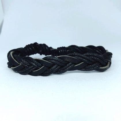 Handgjort armband för män äkta läder flätade band