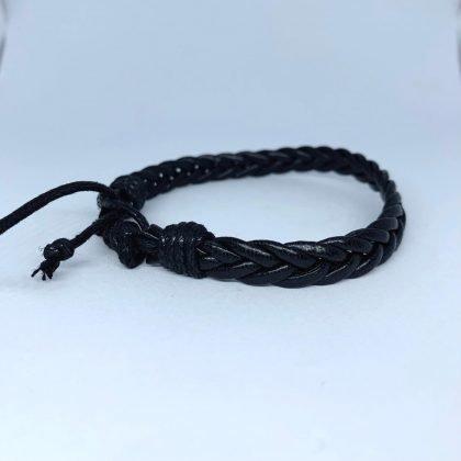 Handgjort armband för män äkta läder flätade band svart