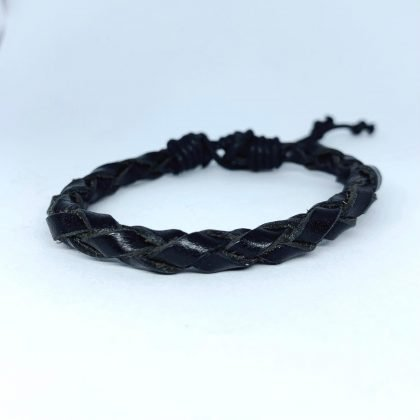 Handgjort armband för män äkta läder flätade remsor svart