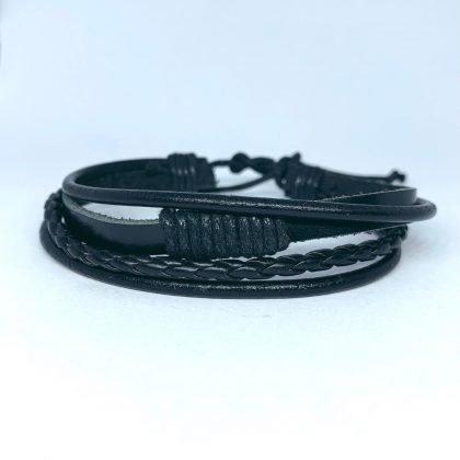 Handgjorda armband á 4 stk för män äkta läder flätat svart
