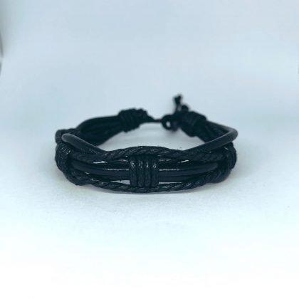 Handgjorda armband för män äkta läder flätat svart
