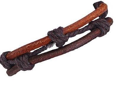 Handgjorda armband för män äkta brunt läder ihopbundna